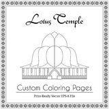 Lotus Temple in India Coloring Book Royalty Free Stock Image