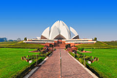Lotus Temple, India. NEW DELHI, INDIA - FEBRUARY 12: Lotus Temple on February 12, 2014, New Delhi, India. The Bahai House of Worship in New Delhi, popularly royalty free stock image
