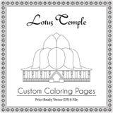 Lotus Temple in Indien-Malbuch Lizenzfreies Stockbild