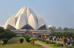 Lotus temple with a line of pilgrims, New Delhi, India Royalty Free Stock Image