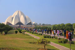 Lotus temple with a line of pilgrims, New Delhi, India Stock Photo