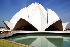 Lotus Temple, New Delhi. On the photo: Lotus Temple, New Delhi stock photos