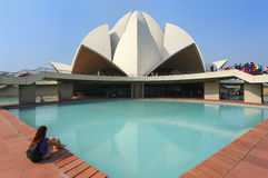 Lotus temple in New Delhi, India. It serves as the Mother Temple of the Indian subcontinent and has become a prominent attraction in the city stock photos