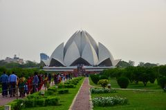 Lotus Temple, in New Delhi, India wordt, is een Bahai-Vereringshuis in 1986 wordt gebouwd gevestigd die Opmerkelijk voor zijn flo Stock Fotografie