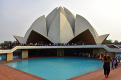 Lotus Temple, in New Delhi, India wordt, is een Bahai-Vereringshuis in 1986 wordt gebouwd gevestigd die Opmerkelijk voor zijn flo Stock Afbeelding