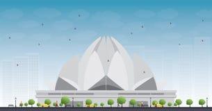 Lotus Temple, in New Delhi, India wordt gevestigd dat Stock Foto
