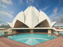 Lotus Temple, in New Delhi, India wordt gevestigd dat Stock Afbeelding