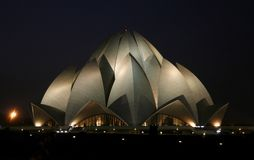 Lotus temple at night, delhi. India royalty free stock photos