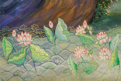 Lotus, Thai ancient mural Royalty Free Stock Photo