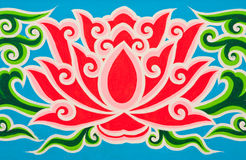 Lotus in traditional Thai style painting Royalty Free Stock Photos