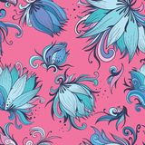 Lotus Vector Pattern bleue et rose Photographie stock