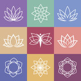 Lotus. Vector yoga icons and round line badges - graphic design elements in outline style or logo templates for spa center or yoga studio Royalty Free Stock Image
