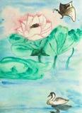 Lotus, vlinder en zwaan, het schilderen Stock Fotografie