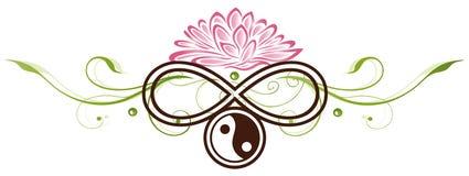 Lotus, yin yang ilustración del vector