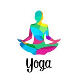 Lotus yoga pose icon. Vector abstract. Vector polygon illustration for label and web Stock Photography