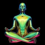 Lotus yoga pose stylized man figure metallic green colorful. Lotus yoga pose stylized man figure metallic green glossy colorful. Human zen guru character. Mental royalty free illustration
