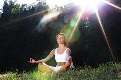 Lotus yoga sunrise stock photo