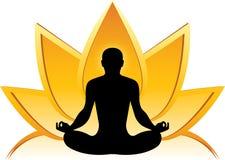 Lotus-yogaembleem Royalty-vrije Stock Afbeeldingen
