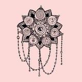 Lotusbloem van de de lijnkunst van de krabbelstijl de zwarte en roze met het pictogram van yogachakras, hiëroglief vector illustratie