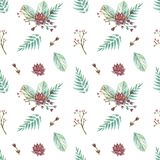 Lotusbloem van het waterverf de naadloze patroon royalty-vrije illustratie