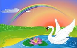 Lotusblomma och swan Fotografering för Bildbyråer