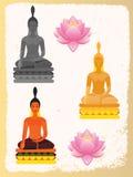 Lotusblommar blommar och Buddha Arkivbild