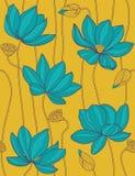 lotusblommar mönsan den seamless vektorn Fotografering för Bildbyråer