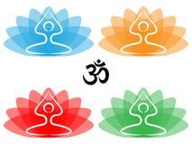 lotusblommar poserar yoga royaltyfri illustrationer
