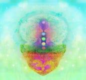 lotusblommar poserar yoga Padmasana med kulöra chakrapunkter Arkivbilder