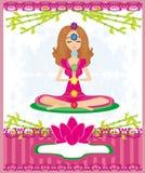 lotusblommar poserar yoga Padmasana med kulöra chakrapunkter Fotografering för Bildbyråer
