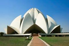 Lotusblommatempel i Delhi, Indien Arkivbilder