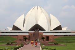 Lotusblommatempel i Delhi, Indien Arkivbild