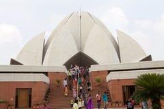 Lotusblommatempel i Delhi, Indien Arkivfoto
