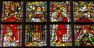 Louça de Delft Neth de Martin Luther Stained Glass New Cathedral Nieuwe Kerk Foto de Stock Royalty Free