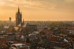 Louça de Delft Países Baixos durante o por do sol fotografia de stock royalty free