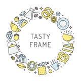 Louça e cozimento (chá e café) da ilustração colorido do quadro do círculo Parte dois Imagens de Stock Royalty Free