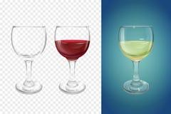 Louça realística da ilustração do vetor do vidro de vinho ilustração do vetor