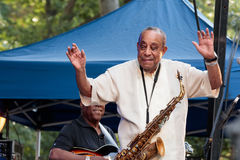 Lou Donaldson at the Charlie Parker Jazz Festival in Manhattan. Part of the SummerStage series - Sunday August 27, 2017 royalty free stock photos