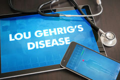 Lou Gehrig's disease (neurological disorder) diagnosis medical c. Oncept on tablet screen with stethoscope stock image