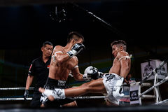 Lou Jim of China and Jean Nascimento of Brazil in Thai Fight Proud to be Thai Royalty Free Stock Photography