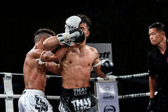 Lou Jim of China and Jean Nascimento of Brazil in Thai Fight Proud to be Thai Royalty Free Stock Image