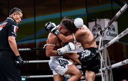Lou Jim of China and Jean Nascimento of Brazil in Thai Fight Proud to be Thai Royalty Free Stock Photo