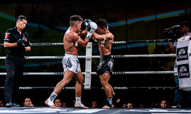 Lou Jim of China and Jean Nascimento of Brazil in Thai Fight Proud to be Thai Stock Images