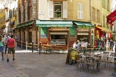 Lou Pilha Leva Restaurant Nice, Frankrike Arkivbilder