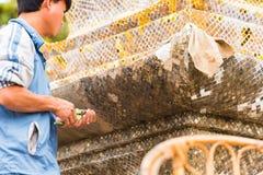 LOUANGPHABANG, ЛАОС - 11-ОЕ ЯНВАРЯ 2017: Человек кладет вне мозаику Конец-вверх Стоковое Изображение RF