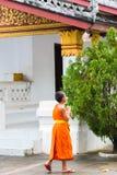 LOUANGPHABANG LAOS - JANUARI 11, 2017: Liten munk nära templet Kopiera utrymme för text vertikalt Arkivfoto