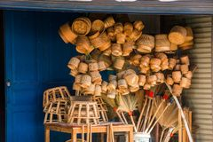 LOUANGPHABANG, LAOS - JANUARY 11, 2017: Laotian wicker hand baskets on the local market. Royalty Free Stock Images