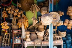 LOUANGPHABANG, LAOS - JANUARY 11, 2017: Laotian wicker hand baskets on the local market. Close-up. Royalty Free Stock Photo