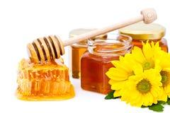 Louche et nid d'abeilles de miel images libres de droits