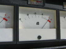 Loud. Volume meter showing high decibels stock image